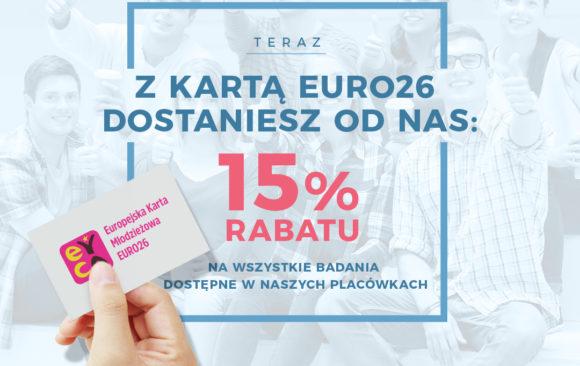 15 % zniżki dla posiadaczy karty Euro26