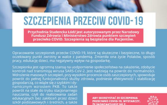 Autoryzowany punkt szczepień przeciwko COVID-19 w Przychodni Studenckiej w Łodzi